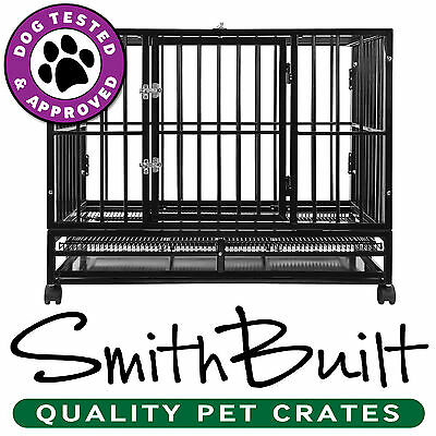 Dog Crate Kennel - Heavy Duty Pet Cage Playpen w/ Metal Tray Pan