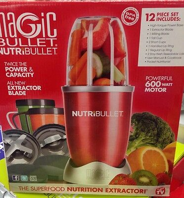 Magic Bullet Nutribullet 12 Piece Set Superfood Nutrition Extractor New 600 Red
