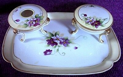 NIPPON DRESSER SET  (TRAY, DRESSER JAR, HAIR RECEIVER) W/ TREE CREST MARK