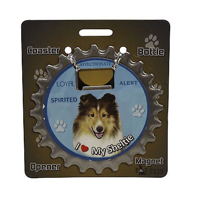 Sheltie dog coaster magnet bottle opener Bottle Ninjas Shetland Sheepdog
