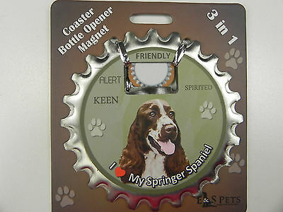 Springer Spaniel dog coaster magnet bottle opener Bottle Ninjas