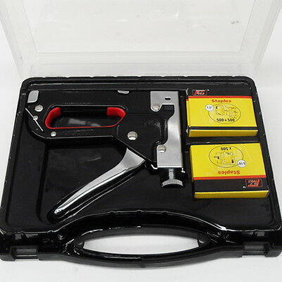 HEAVY DUTY STAPLE GUN TACKER UPHOLSTERY STAPLER + 1500 Nails Fastener Tool Kit