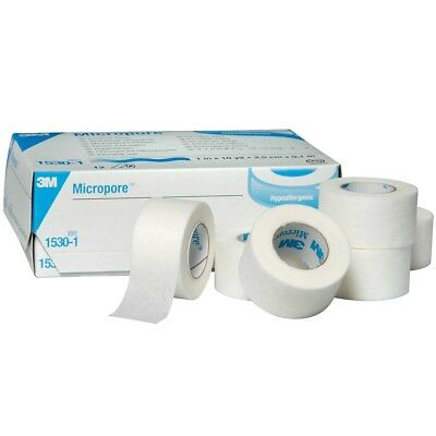 3M Micropore Surgical Tape 12 Rolls 2.5cm x 9.1 mtrs Hypoallergenic