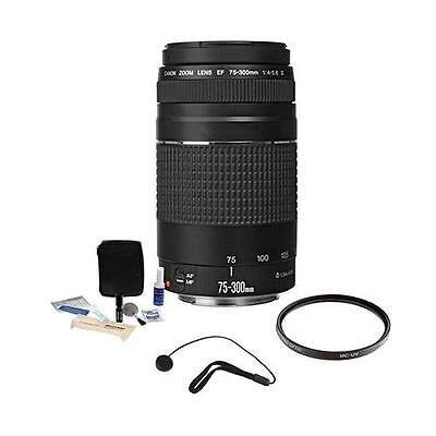 Canon EF 75mm-300mm F/4-5.6 III Lens Bundle. USA. Value Kit with Acc #6473A003