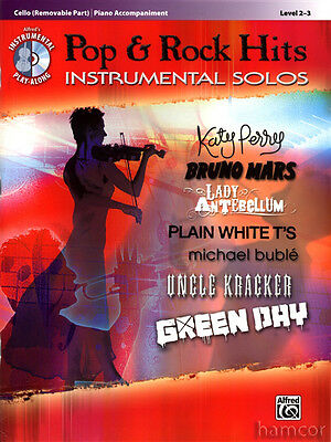 Pop & Rock Hits Instrumental Solos Cello Sheet Music Book with Play-Along CD