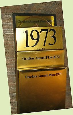 Lot 4 Crystal,Gold Plates 1970-1973 Orrefors Sweden Historical Churches,Basilica