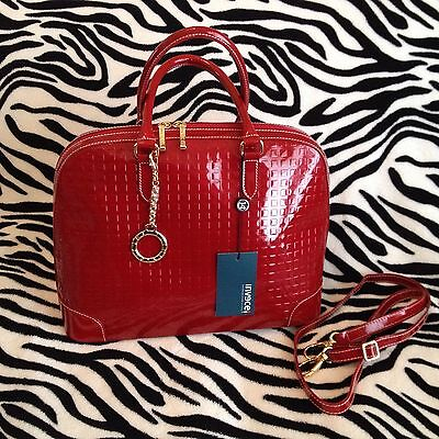 Invece by Arcadia Italian Patent Leather Dome Handbag / Onion Red / Brand New!