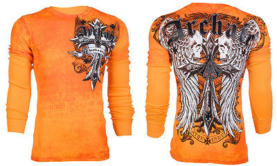 Archaic AFFLICTION Men THERMAL T-Shirt LUSTROUS Skull Wings Tattoo Biker UFC $58