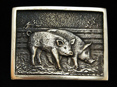 Nh11131 *nos* Vintage 1978 **two Pigs/hogs** Solid Brass Bts Belt Buckle