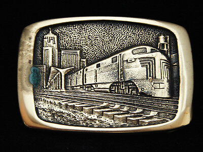 NH11140 *NOS* VINTAGE 1970s **TRAIN LEAVING CITY** ART SOLID BRASS BTS BUCKLE