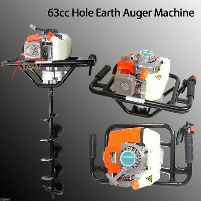 "63cc 3HP One Man Gas Power Head Hole Earth Auger Machine w/6"" and 10"" bits"