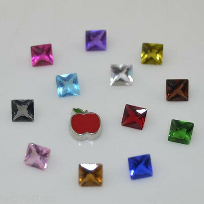 13pcs Floating Charm square Mix For Stainless Glass Living Memory Locket M241