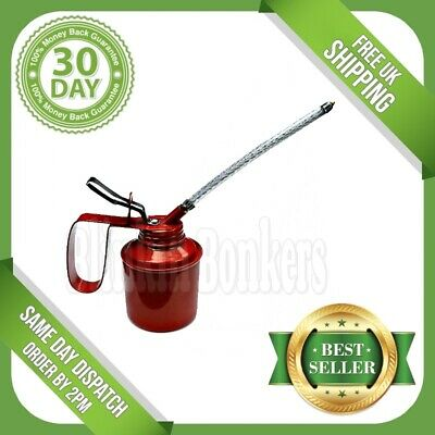 Oil Can 1/4 Pint Garage Pump Action Metal Steel With Flexible Spout Thumb 17C