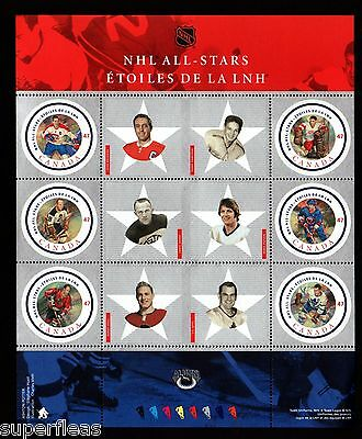 Year 2001 Canada stamps, 2nd series NHL pane w/ Jean Beliveau #1885 ** MNH GEM