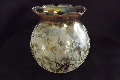 French antique glass of oil lamp Yellow with frost decor