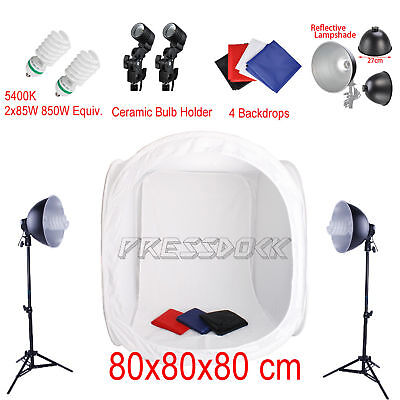 80x80x80cm Photo Studio Product Photography Lighting Box Tent 4 Backdrop Kit Set