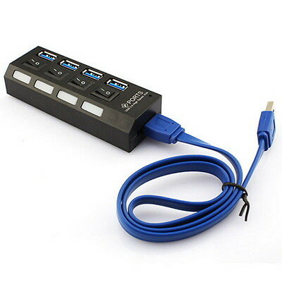 NEW KDQ1 USB 3.0 Hub 4 Ports Speed 5Gbps for PC laptop with on/off switch BLACK