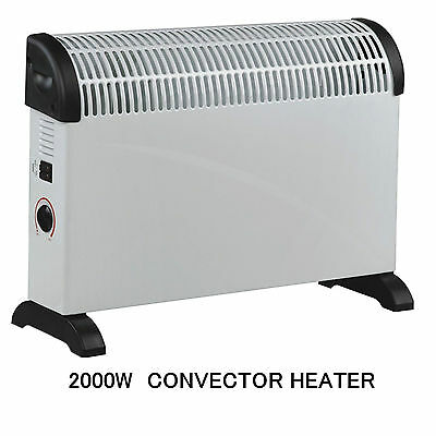 2000W Portable Electric Convector Adjustable Thermostat Heater 2Kw