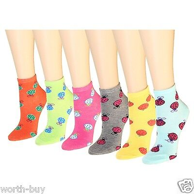 New 12 Pairs 1 Dozen Womens Ankle Socks Multi Colors Size 9-11 Ladybird Lady Bug