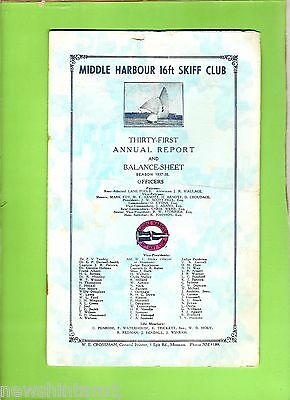 #D148. 1937 - 1938 MIDDLE HARBOUR 16ft SKIFF CLUB ANNUAL REPORT