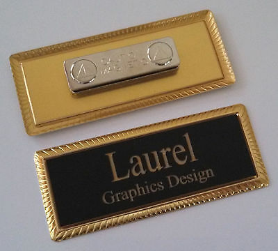 "BLACK Engraved Name Tag on GOLD metal frame 1""x3"" w/magnetic badge attachment"