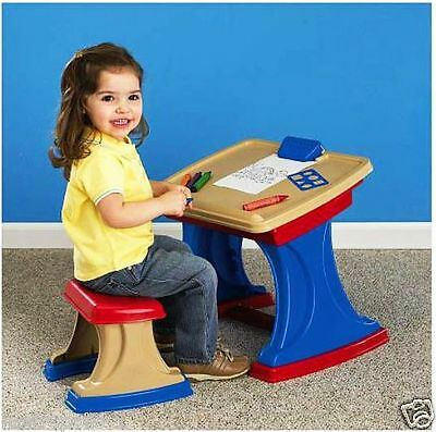 Children's Convertible Desk,with Easel,clipboard,stencil,storage,& Chair,2+,new