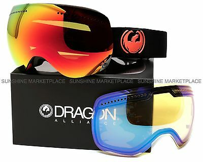 NEW 2015 Dragon APX Goggles-Jet Black-Red Ionized +Yellow Blue-SAME DAY SHIPPING