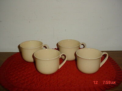 """4-PIECE FRANCISCAN GOLDEN 4 3/4"""" COFFEE CUPS/STAMPED/USA/HIGH GLOSS/SPECKLES"""