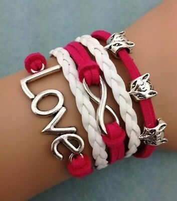 NEW Red Infinity Fox Love Leather Charm Bracelet plated Silver DIY HOT