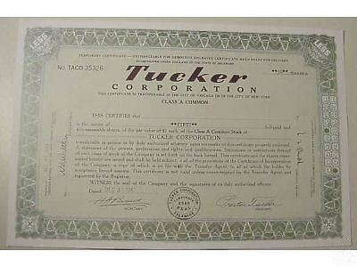 TUCKER AUTOMOBILES STOCK CERTIFICATE car auto 1947 50 Shares GREAT GIFT Repro