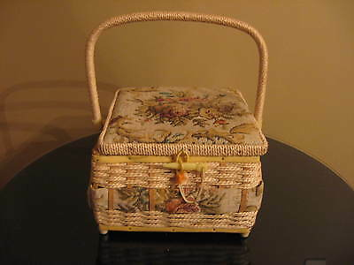 Large VIntage Sewing Basket Wood Frame, Woven Sides, Tapestry Top, Swing Handle