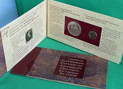 1993 Jefferson Silver Coin Currency US Mint Set $2 STAR Note Matte Finish Nickel