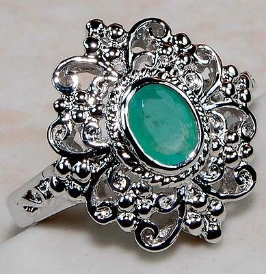 Natural Emerald 925 Solid Sterling Silver Edwardian Style Filigree Ring Sz 7