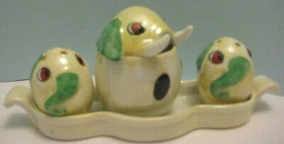 Old 1930s German Ceramic Kitchen Condiment Set - Comical Elephants 4 pc Weird!