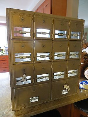 Antique 14 Box Post Office Mail Box Cabinet, Bronze doors with keys