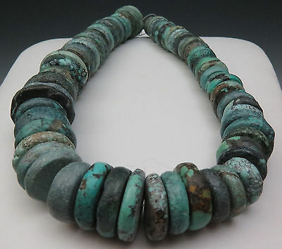 Antique Large Chinese Turquoise Stone Strand Necklace Beads 207 Grams