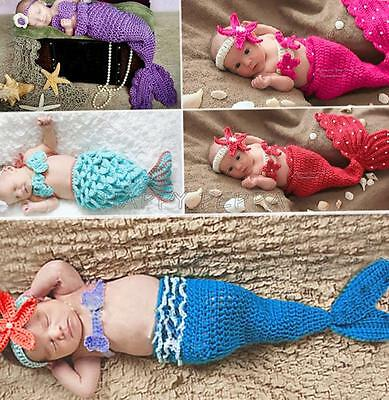 Girl Newborn Baby Infant Crochet Knit Photo Prop Mermaid Outfit Costume SZ 0-12M