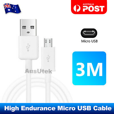 Long 3M Micro USB Data Charger Cable For Samsung Galaxy Note Edge S7 S6 S5 S4
