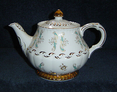 VINTAGE ENGLAND ELLGREAVE TEAPOT ITONSTONE WOOD AND SON TEAL GOLD ON WHITE GREAT
