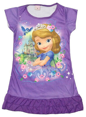Disney Sofia The First Children Kids Girls Pajama Nightgown Dress 3-10 Yr Purple
