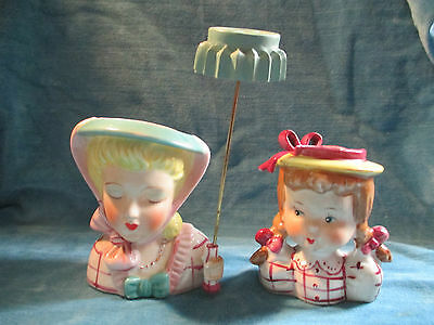 Vintage Pr Of Head Vases Mom Umbrella & Pigtail Girl Matching Pink Plaid Shirts