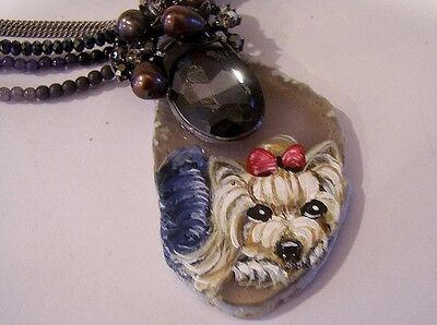 Yorkshire Terrier hand painted necklace pendant earring set amethyst
