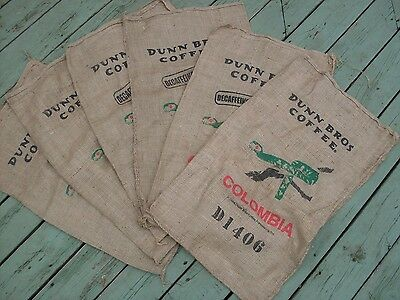 Lot of 6 Burlap Dunn Bros Coffee Bags: Columbia For Primitive/Rustic Crafts