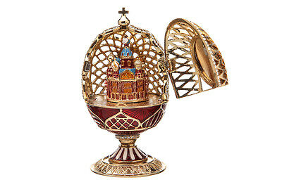 Faberge Carved Egg Church of Savior on Blood / Virgin Mary Our Lady red 11.5 cm