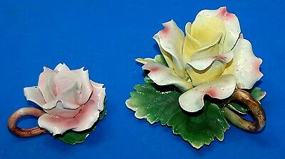 Vintage Capodimonte Porcelain Flower Candle Holder Set Large Yellow Small Pink
