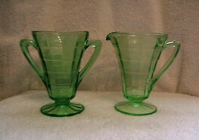 Vintage Hocking Glass Green Block Optic Cone Shape Creamer and Sugar Bowl