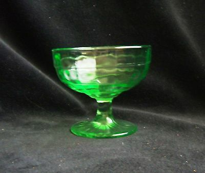 Vintage Hocking Glass Green Block Optic 5 1/2 Ounce Footed Sherbet