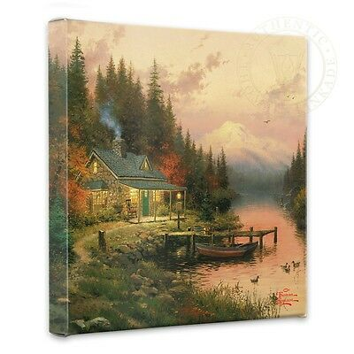 "Thomas Kinkade - End Of A Perfect Day  – 14"" x 14"" Gallery Wrapped Canvas"
