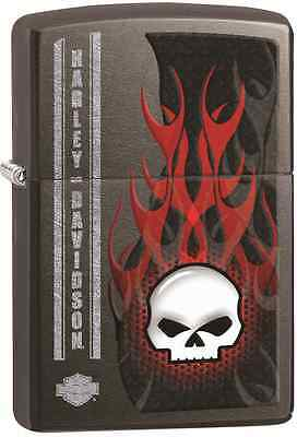 Zippo Harley Davidson HD Skull Red Flames, Gray Dusk Lighter 28618 L@@K NEW