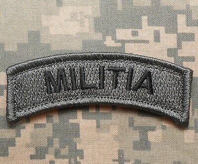 Militia Army Tab Rocker Usa Military Badge Acu Dark Velcro® Brand Fastener Patch